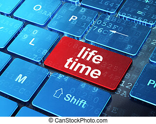 Timeline concept: Life Time on computer keyboard background