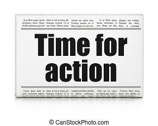 Timeline concept: newspaper headline Time For Action on...
