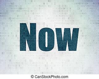 Timeline concept: Now on Digital Data Paper background