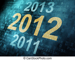 Timeline concept: pixeled word 2011 2012 2013 on digital screen