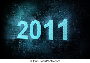 Timeline concept: pixeled word 2011 on digital screen