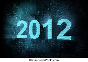 Timeline concept: pixeled word 2012 on digital screen