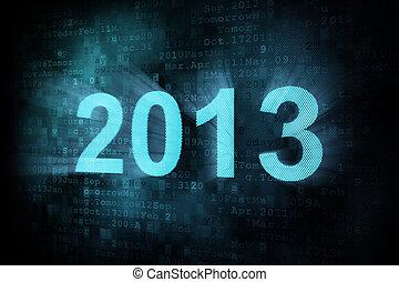 Timeline concept: pixeled word 2013 on digital screen