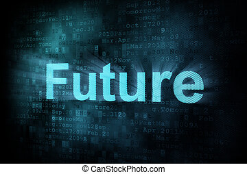 Timeline concept: pixeled word Future on digital screen