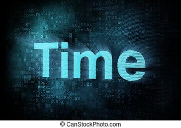 Timeline concept: pixeled word Time on digital screen