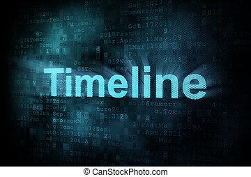 Timeline concept: pixeled word Timeline on digital screen