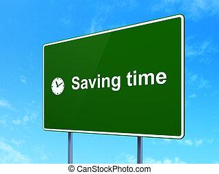 timeline, concept:, poupar, tempo, e, relógio, ligado, sinal estrada, fundo