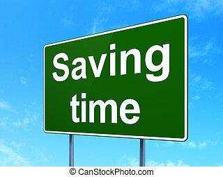 timeline, concept:, poupar, tempo, ligado, sinal estrada, fundo