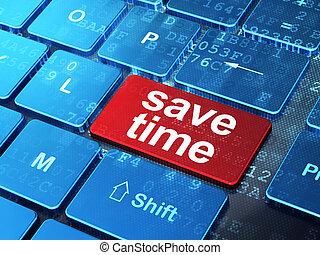 Timeline concept: Save Time on computer keyboard background