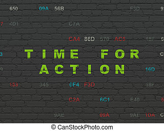 Timeline concept: Time for Action on wall background