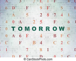 Timeline concept: Tomorrow on Digital Data Paper background