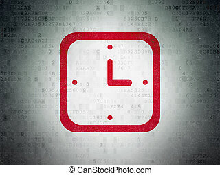 Timeline concept: Watch on Digital Data Paper background
