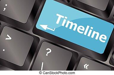 timeline concept - word on keyboard keys. Keyboard keys icon button vector