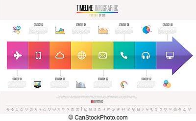 timeline, conception, gabarit, infographics
