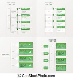 timeline design 4 item green gradient color
