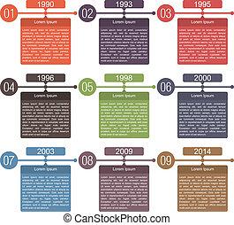 timeline, diseño, plantilla