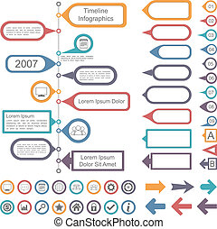 timeline, elemente, sammlung, infographics