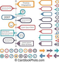 timeline, elementi, collezione, infographics