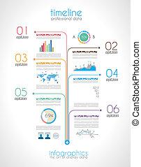 timeline, exhibición, infographic, elemento, datos, su