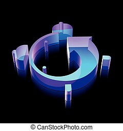 Timeline icon: 3d neon glowing Alarm Clock made of glass, vector illustration.