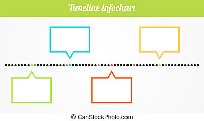 Simple isolated horizontal infochart timeline with 4 place for text