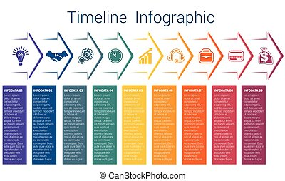 Timeline infographic 9 color arrows - Set horizontal color...