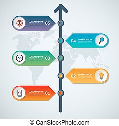 Timeline infographic arrow elements. Business growth concept with 5 options
