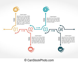 Timeline infographic design template with numbers, icons, dates and text, vector eps10 illustration
