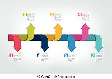timeline, infographic., krok, zameldować, wykres, vector., ...
