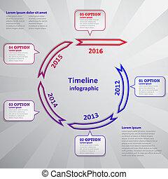 timeline, infographic, nuvem, seta