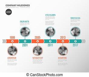timeline, infographic, szablon, fotografie