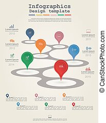 Timeline Infographic template with icons. Vector...
