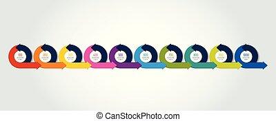 Timeline Infographic. Ten circle arrows template, diagram, chart.