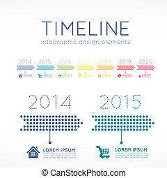 Timeline element infographic on light grey background