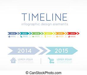 Timeline element vector infographic on light grey background