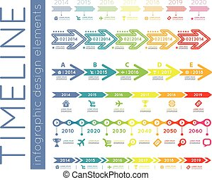 Timeline element vector infographic on white background