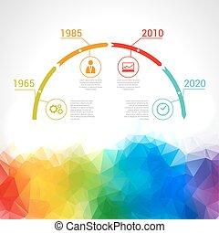 timeline, infographic., triangolare, vettore, disegno, sagoma