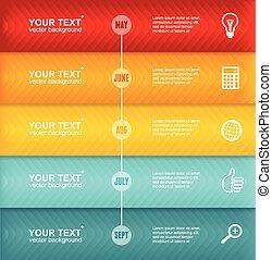 timeline, infographic., vecteur, coloré, gabarit