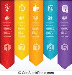 timeline, infographic., vektor, farverig, skabelon