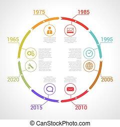 timeline, infographic., vettore, disegno, cerchio, template.