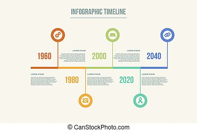 timeline, infographic., vettore, disegno, sagoma