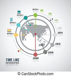 timeline, infographic, világ, vektor, tervezés, template.