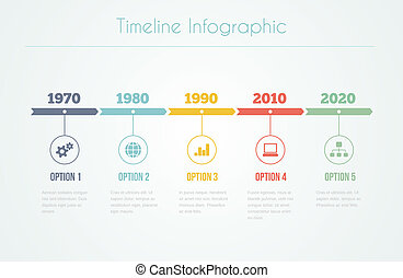 Timeline Infographic with diagrams and text in retro style