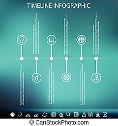 Timeline infographic with unfocused background