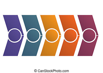 Timeline infographics color arrows for 5 positions - ...