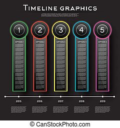 Timeline Infographics Design with Five Options.