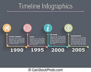 Horizontal timeline infographics design template, vector eps10 illustration