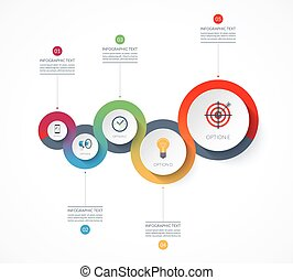 Timeline infographics. Vector banner with 5 options. Can be used for chart, graph, diagram, step by step infographics, annual report, presentation, web design.