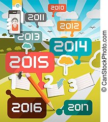 Timeline Infographics Vector Illustration with Years Titles and Landscape on Background