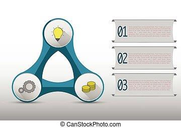 timeline, lépések, három, infographics